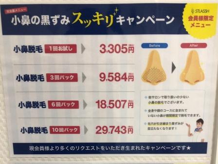 ストラッシュの小鼻脱毛料金。1回お試し→3305円、3回コース→9584円、6回コース→18507円、10回コース→29743円